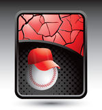 Baseball with cap red cracked background Stock Images