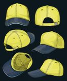 Baseball cap set. Isolated on dark background. Vector illustration, EPS 10 vector illustration