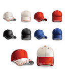 Baseball cap. Set. Vector realistic illustration. Set of beautiful different color caps. Vector illustration Royalty Free Stock Image