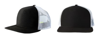 Baseball cap or trucker hat. Front and side view of black baseball cap or trucker hat isolated on white background stock photography