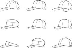 Baseball cap. Vector illustration of baseball cap. Different models royalty free illustration