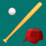 Baseball cap, wooden special bat and ball in realistic style Royalty Free Stock Images
