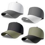 Baseball Caps. Vector photorealistic illustration of four baseball caps. Detailed portrayal Royalty Free Stock Image