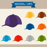 Baseball caps colored templates for your design in. Flat style Royalty Free Stock Photos