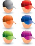 Baseball caps on heads. Multiple colored baseball caps on heads Royalty Free Stock Images