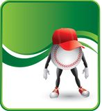 Baseball cartoon character wearing a hat. Cartoon character of a baseball wearing a hat Stock Photography