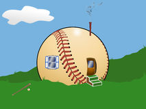 Baseball Cartoon House Stock Photography