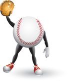 Baseball cartoon man with glove. Baseball cartoon character with a glove on his hand Royalty Free Stock Photos