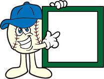 Baseball Cartoon Mascot Pointing To A Sign Stock Images