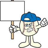 Baseball Cartoon Mascot Protesting Royalty Free Stock Photography