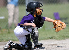 Baseball Catcher catching ball. Baseball catcher catches ball thrown from pitcher Royalty Free Stock Images
