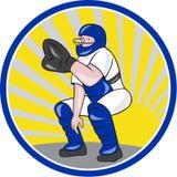 Baseball Catcher Catching Side Circle Stock Photos