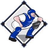 Baseball Catcher Catching Side Diamond Cartoon Royalty Free Stock Photography