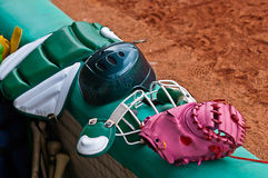 Baseball catcher equipments Royalty Free Stock Photo