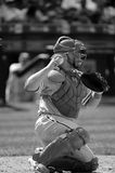 Baseball Catcher With Glove And Baseball. Royalty Free Stock Photo