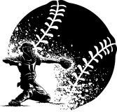 Baseball Catcher at Home Plate With a Grunge Ball Royalty Free Stock Photo