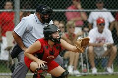 Baseball Catcher Position Stock Image