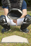 Baseball catcher showing secret signal gesture Stock Photography