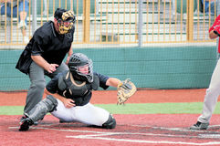 Baseball Catcher with Umpire Stock Images