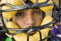 Baseball Catcher Wearing Helmet Royalty Free Stock Image