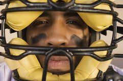 Baseball Catcher Wearing Helmet Royalty Free Stock Photos