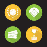 Baseball championship flat design long shadow icons set Royalty Free Stock Images