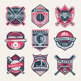 Baseball championship vintage isolated label set. Baseball league and tournament symbol, sport colleague society icon, athletic camp logo. Baseball cup badge Royalty Free Stock Images