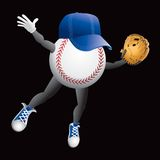 Baseball character diving. Baseball cartoon character with hat and glove Royalty Free Stock Photography