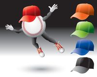 Baseball character with hats. Multiple color hats with baseballs cartoon character Stock Images
