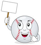Baseball Character Holding Blank Banner Stock Photography