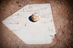 Baseball Close Up on Home Plate Royalty Free Stock Photos