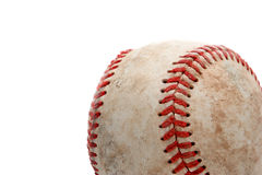 Baseball close up over white. Retired baseball, close up and over white Royalty Free Stock Photography