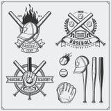 Baseball club emblems, labels and design elements. Baseball player, balls, helmets and bats. Baseball player, ball, helmet, glove. And bat. Black and white Royalty Free Stock Photos