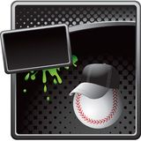 Baseball coach on black halftone advertisement Royalty Free Stock Image