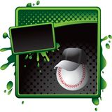 Baseball coach on green and black halftone banner Royalty Free Stock Images