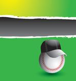 Baseball coach on green ripped banner Stock Photo