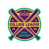 Baseball college league label with crossed bats Royalty Free Stock Photography