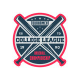 Baseball college league vintage label. Baseball college league vintage isolated label. Sport competition symbol, athletic camp sign, team game vector Stock Images