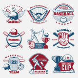 Baseball Colored Emblems. Of teams and tournaments with trophy sports field and outfit isolated vector illustration Stock Photo