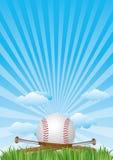baseball con cielo blu Immagini Stock Libere da Diritti