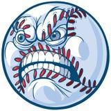 Baseball con l'illustrazione arrabbiata del fumetto di vettore del fronte Immagine Stock Libera da Diritti