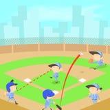 Baseball concept, cartoon style Royalty Free Stock Photo