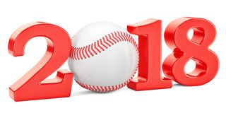 Baseball 2018 concept, 3D rendering. Isolated on white background Royalty Free Stock Photography