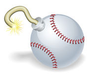 Baseball countdown bomb illustration Royalty Free Stock Images