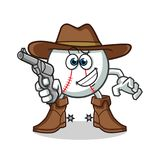 Baseball cowboy holding gun mascot vector cartoon illustration. This is an original character Royalty Free Stock Photography