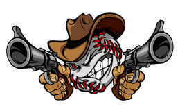Baseball Cowboy Illustration Logo. Cowboy Baseball Logo Aiming Guns illustration Royalty Free Stock Image