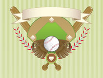 Baseball crest design. A baseball objects layout in a crest design Stock Photography