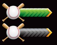 Baseball and crossed bats on green and black arrow. Black and green arrow banners with a baseball and crossed bats Royalty Free Stock Photos