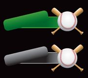 Baseball and crossed bats on green and silver tabs. Baseball and crossed bats on green and gray banners Royalty Free Stock Photos