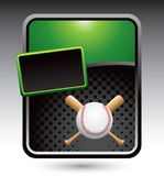 Baseball and crossed bats on green stylized ad Stock Photos